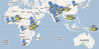 A Google map showing the locations of various lighting projects around the world.